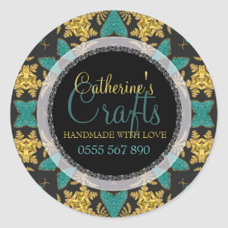 Black+Gold Sparkle + Teal Business Product Sticker