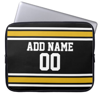 Black Gold Sports Jersey with Your Name and Number Laptop Sleeve
