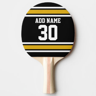 Black Gold Sports Jersey with Your Name and Number Ping Pong Paddle