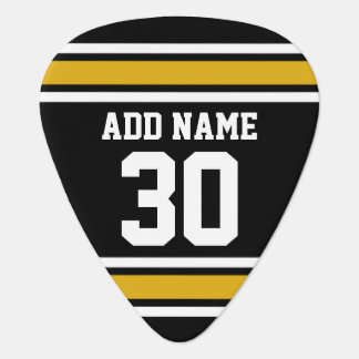 Black Gold Sports Jersey with Your Name and Number Plectrum