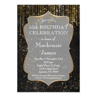 Black Gold Star Bling Birthday Party Invitation