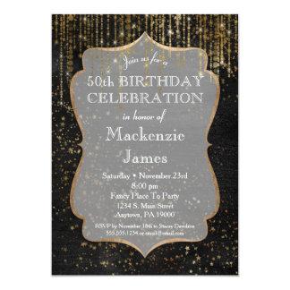 Black Gold Star Bling Birthday Party Invitation