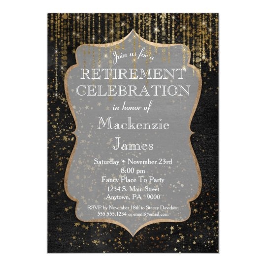Black Gold Star Bling Retirement Party Invitation