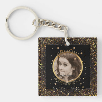 Black Gold Stars Graduation | Your Name Class of Key Ring