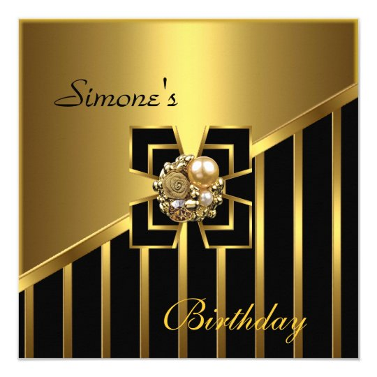 Black Gold Stripe Art Deco Invite Birthday Party