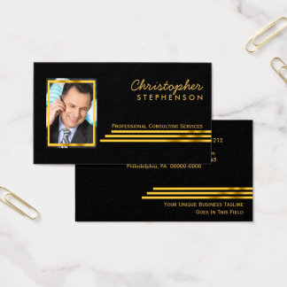 Black Gold Striped Professional Consulting Photo Business Card