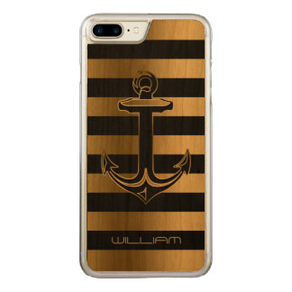 Black & Gold Stripes Boat With Anchor Carved iPhone 8 Plus/7 Plus Case