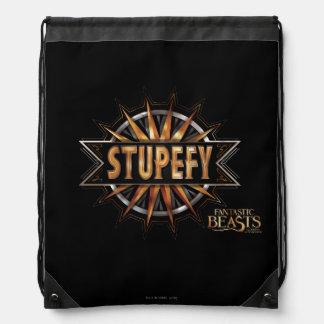 Black & Gold Stupefy Spell Graphic Drawstring Bag