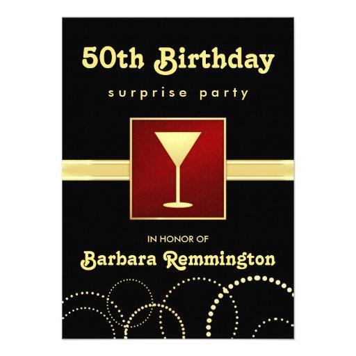Black & Gold - Surprise 50th Birthday Party Invite