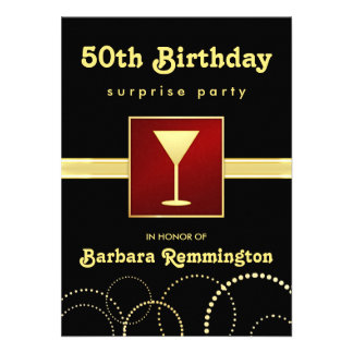 Black Gold - Surprise 50th Birthday Party Invite