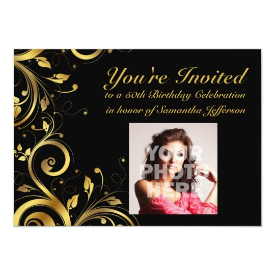 Black+Gold Swirl, Custom Photo 50th Birthday Party Card