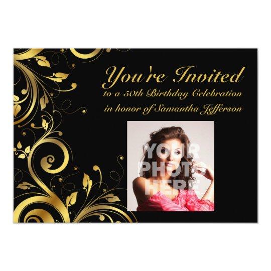 Black Gold Swirl Custom Photo 50th Birthday Party Invitation