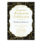 Black Gold Swirl Surprise Retirement Invitation