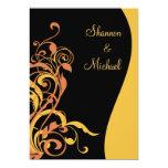 Black Gold Swirl Wedding Invitation