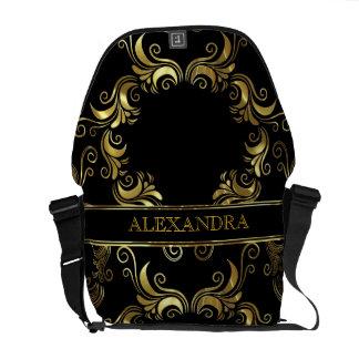 Black & Gold Swirls Design- Monogram Commuter Bags