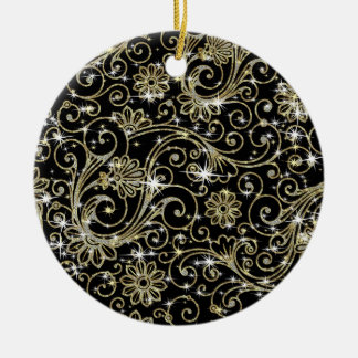 Black & Gold Swirls Round Ceramic Decoration
