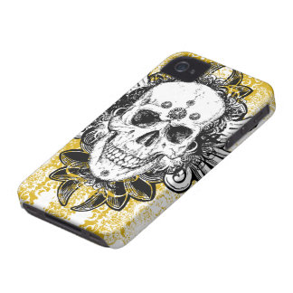 Black gold swirls skull awesome iphone 4 casemate iPhone 4 covers