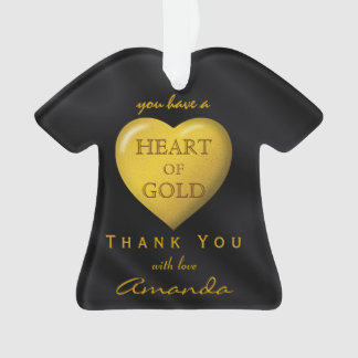 Black Gold Tee Heart of Gold Love Shirt Thank You Ornament