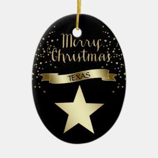 Black Gold Texas Star Christmas Ornament
