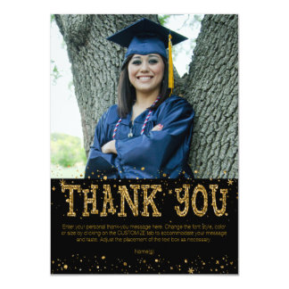 Black & Gold THANK YOU--hand write on back Card