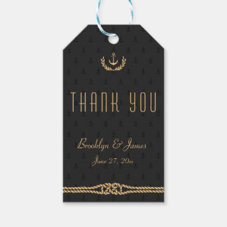 Black Gold Thank You Nautical Wedding Gift Tags