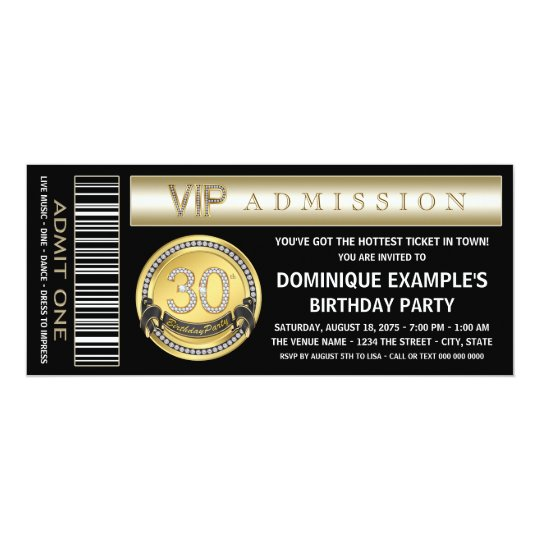 Black Gold Ticket 30th Birthday Party Invitations