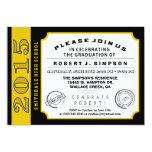 Black & Gold Ticket Graduation Invitation 13 Cm X 18 Cm Invitation Card
