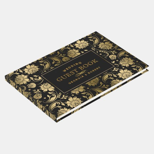 Black & Gold Tone Floral Damasks Guest Book