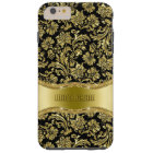 Black & Gold Tones Floral Damasks Tough iPhone 6 Plus Case