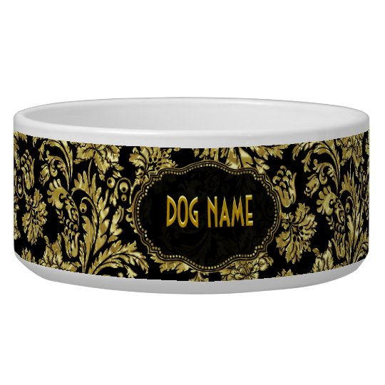 Black & Gold Tones Vintage Floral Damasks Dog Food Bowls
