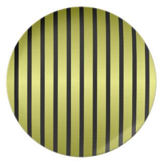 Black Gold Vertical Stripe Plate