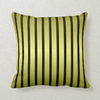 Black Gold Vertical Stripe Throw Pillow