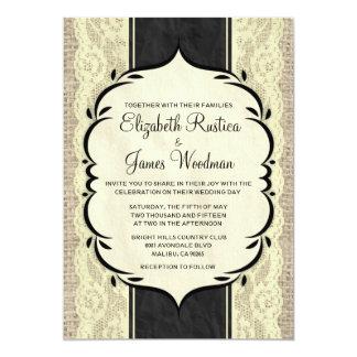 Black Gold Vintage Burlap Lace Wedding Invitations