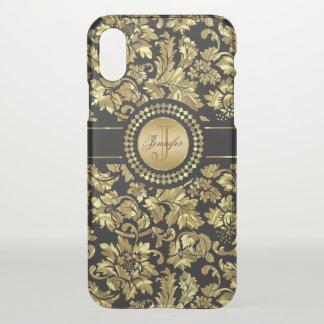 Black & Gold Vintage Damasks Monogram iPhone X Case