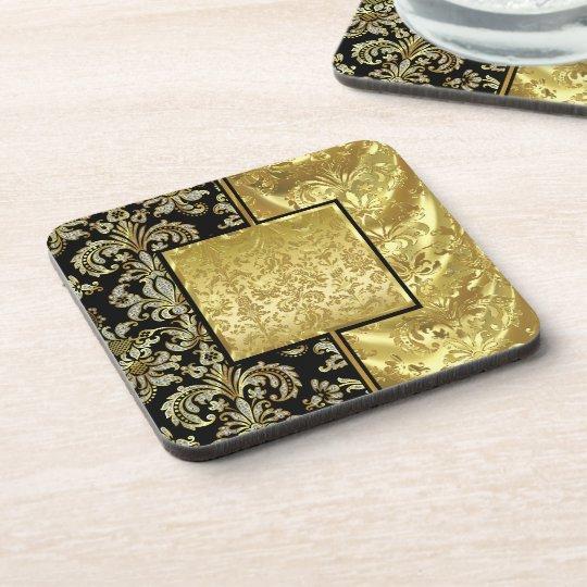 Black & Gold Vintage Floral Damask Pattern Coaster