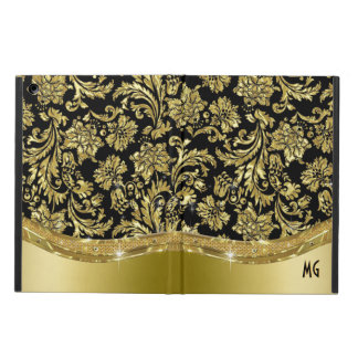 Black & Gold Vintage Floral Damasks Case For iPad Air