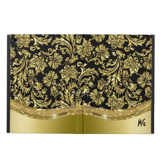 Black & Gold Vintage Floral Damasks Case For