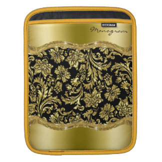 Black & Gold Vintage Floral Damasks iPad Sleeve