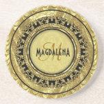 Black & Gold Vintage Floral Damasks-Monogram Drink Coasters