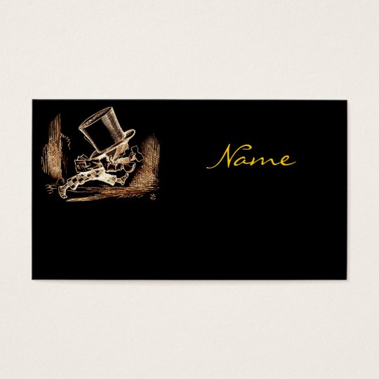 Black Gold Vintage Mad Hatter Business Card