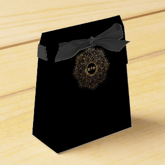 Black Gold Wedding Monogram Floral Mandala Favour Box