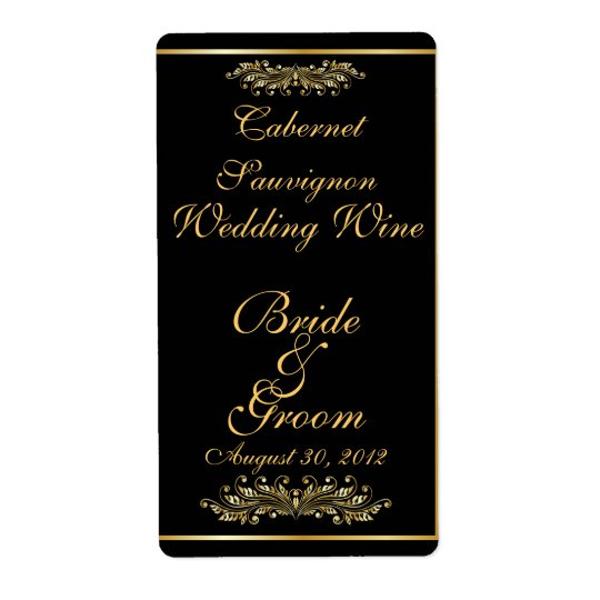 Black & Gold  Wedding Wine Label Shipping Label