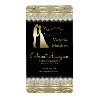 Black Gold Wedding Wine Labels