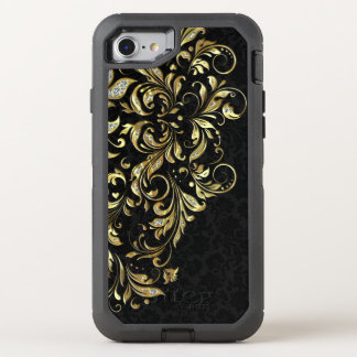 Black Gold & White Glitter Floral Lace OtterBox Defender iPhone 8/7 Case