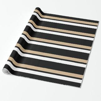 Black Gold & White Horizontal Stripes Giftwrap Wrapping Paper