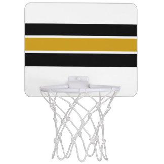Black & Gold White Strip Design Mini Basketball Hoop