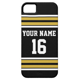 Black Gold White Team Jersey Custom Number Name iPhone 5 Covers