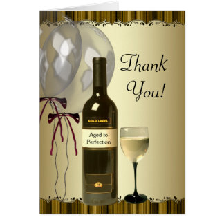 Black Gold Wine Bottle Glass Thank You Cards