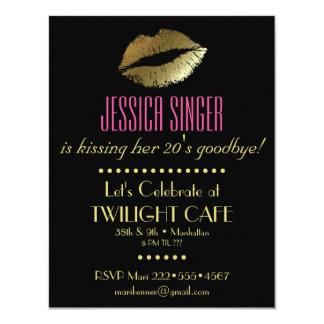Black & Gold with Lips Contemporary Modern Elegant 11 Cm X 14 Cm Invitation Card