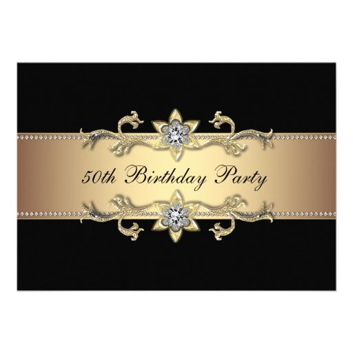 Black Gold Womans 50th Birthday Invitation